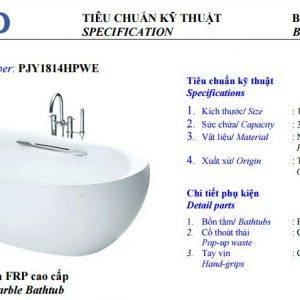 Bồn tắm nhựa TOTO PJY1814HPWE